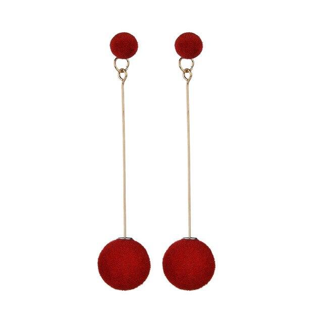 Korean Velvet Round Tel Long Dangle Earrings Red Black Fashion Plush Ball Drop For Women