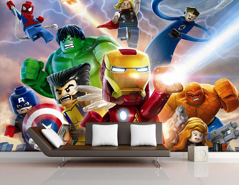 3D Lego Avengers wallpaper for walls Mural Cartoon wallpaper Kids  Bedroom Room Decor TV backdrop wall. photo wallpaper Picture   More Detailed Picture about 3D Lego