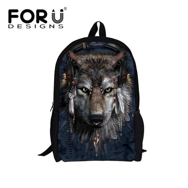2016 Animal Design Canvas Backpack Cool 3D Wolf Shark Unisex Travel Rucksack Backpacks High Quality Women Man School Bag Daypack