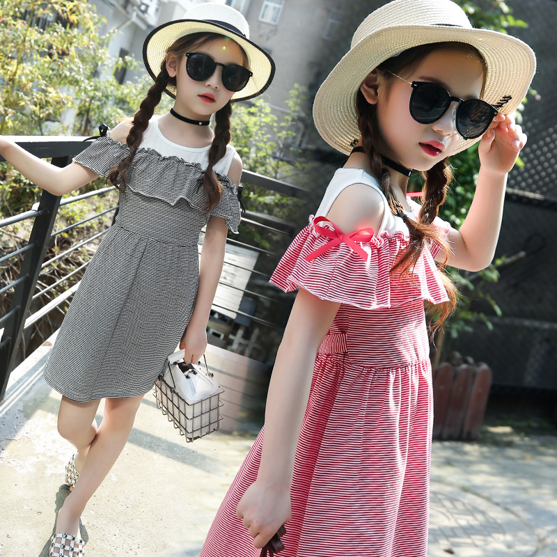 2018 New Girl Striped Dress Girls Off Shoulder Elegant Birthday Dress Party Princess Kids Clothes Vestido Dress Children Clothes 2pcs children outfit clothes kids baby girl off shoulder cotton ruffled sleeve tops striped t shirt blue denim jeans sunsuit set