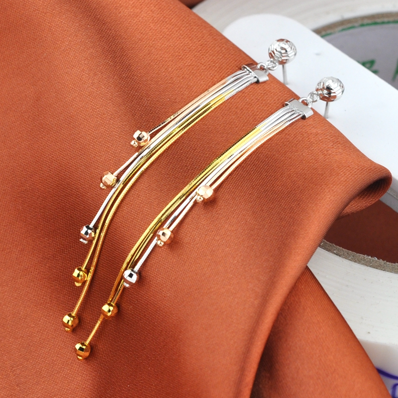 S925 sterling silver earrings plated gold long Gift of girlfriends fashion earrings hypoallergenic wild women Tassel Gift gift a suit of delicate gold plated rhinestone flowers tassel pendant necklace and earrings for women