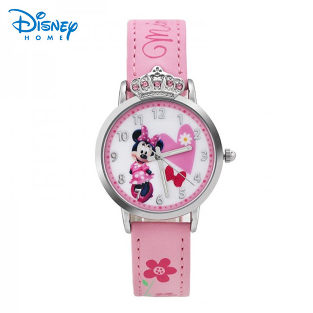 100% Genuine Disney Minnie Snow White Watches Fashion Children Watch Girls Kids Students Leather Sports Wristwatches Gifts 84801