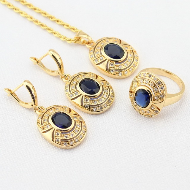 Blue CZ Stone Gold Color Jewelry Sets For Women