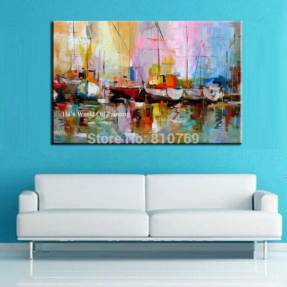 100% Handpainted modern picture home decor wall art picture <font><b>Knife</b></font> <font><b>Boat</b></font> Oil Painting thick palette <font><b>knife</b></font> Christmas Gift on canvas image
