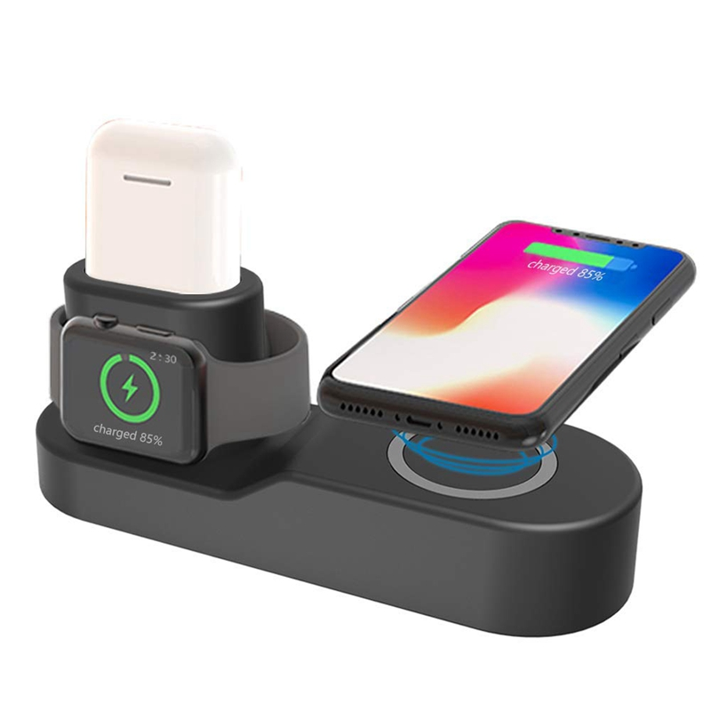 4in1 Fast Wireless Charger for iPhone 8 X XS Max XR USB Qi Charging Dock for Apple Watch 2 3 4 for Airpods Samsung S10 S9 S8