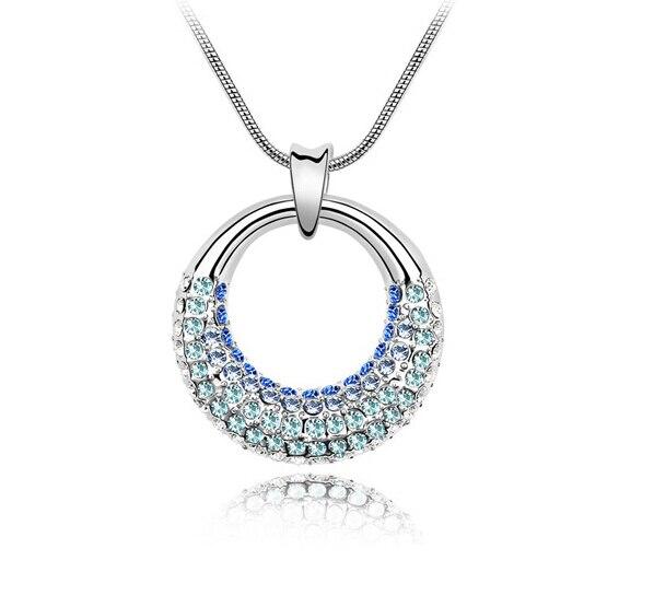 Multi Blau Osterreichischen Kristall Kreis Halskette Einzigartige
