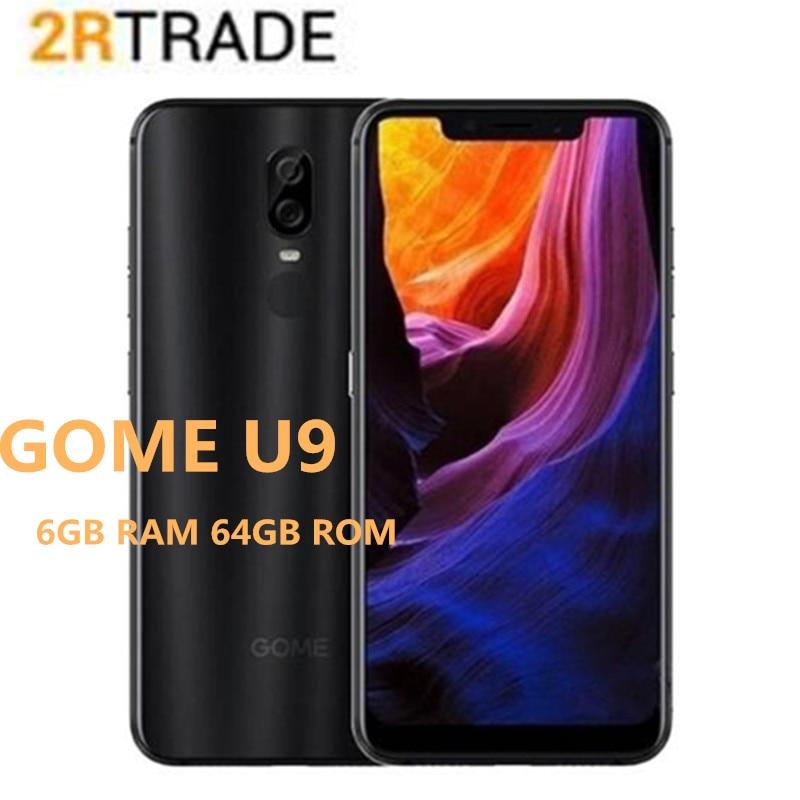 Gome u9 6 gb ram 64 gb rom smartphone duplo cartão sim mtk helio p23 voiceprint reconhecimento facial da impressão digital 16.0mp telefone de 6.18 polegadas