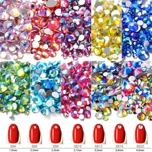 T-TIAO CLUB  AB Colorful Crystal Nail Art Decorations Mixed Size Flatback Glass Stones 3d Rhinestones Gems For DIY Nails