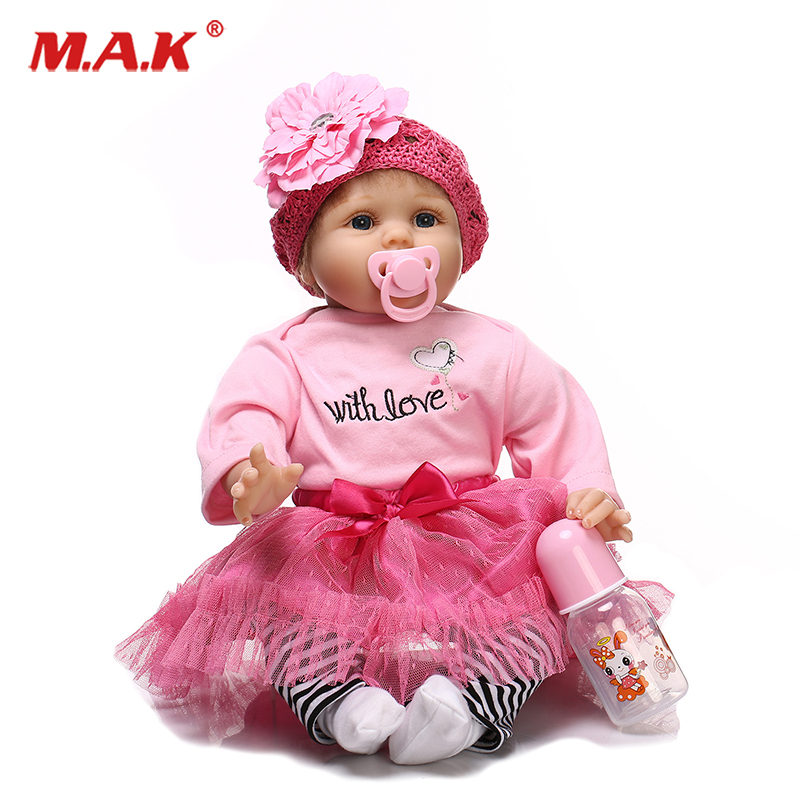 лучшая цена reborn doll 55cm New Handmade Silicone reborn baby adorable Lifelike toddler Bonecas girl kid menina de silicone lol doll