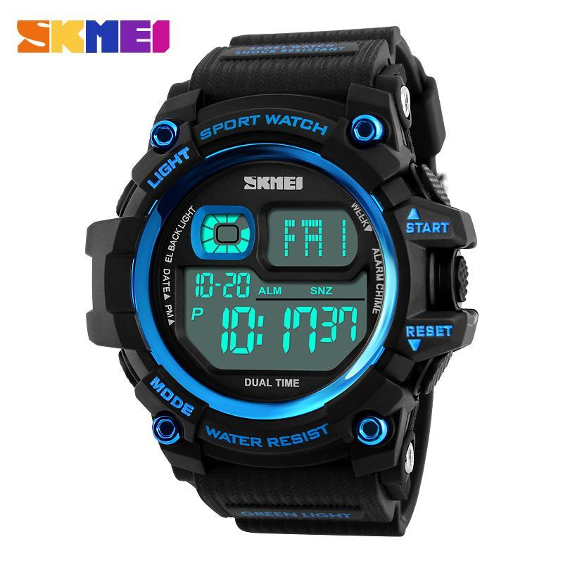 ФОТО Men's big dial waterproof electronic watches individuality outdoor sports multifunctional male student trend Watch