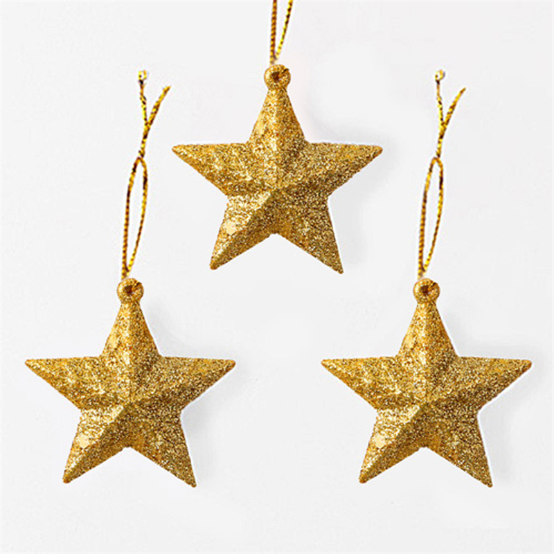 c9a5d3620af 6PCS Christmas Tree Pendant five-pointed Star christmas Decoration Gold  Powder Star Decoration Mini Ball