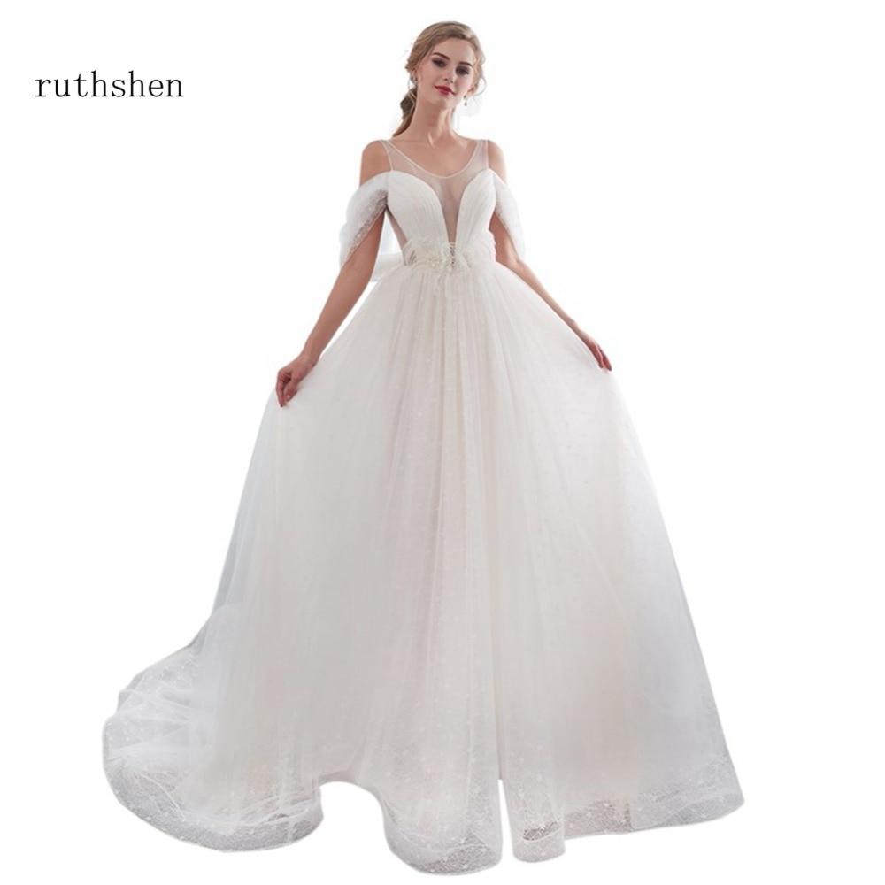 Beaded Illusion Back Wedding Dress: 2019 Illusion Wedding Dresses Beaded Pleated Tulle A Line