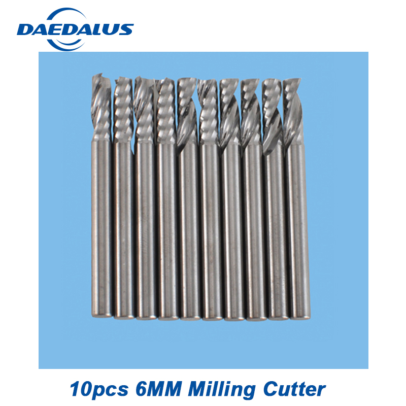 Router Bits one Flutes Spiral Carbide End 10pcs 6mm milling cutter drill mill cutter for CNC