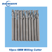 Router Bits one Flutes Spiral Carbide End 10pcs 6mm milling cutter drill mill cutter for CNC engraving metal milling machines