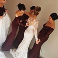 2017 Navy Red Mermaid Bridesmaid Dress Boat Neck Sheer Long Sleeve Appliques Bridesmaid dresses Vestidos de madrinha