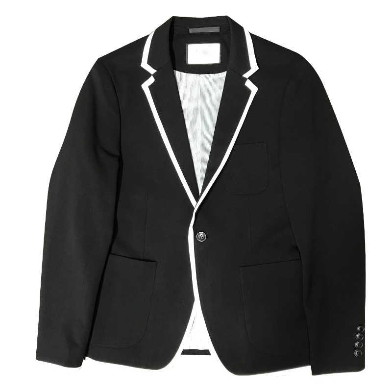黒と白のメンズブレザースリムデザインティーン男性のスーツのジャケットサイズ SML XL XXL XXXL 男性コート 2019