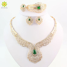 Vintage Gold Color African Costume Necklace Bracelet Earrings Ring Nigeria Dubai Wedding Rhinestone Jewelry Sets For Women