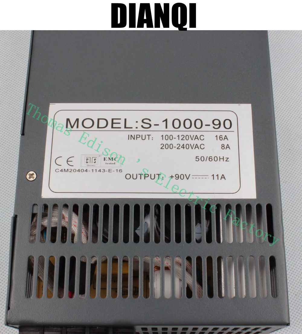 1000W 90V Switching power supply 11a AC to DC input 110v or 220v select by switch 1000w ac to dc power supply S-1000-90 цена