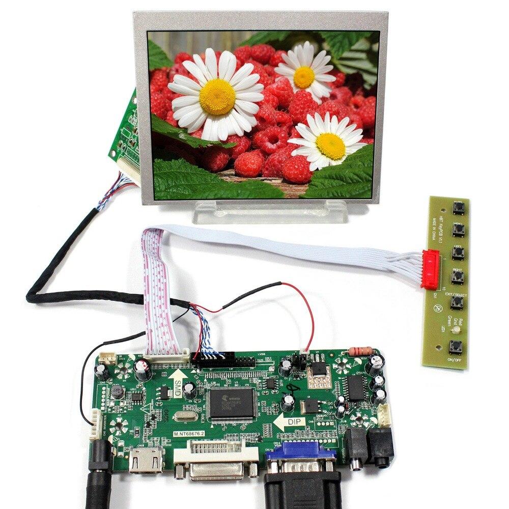 цена на HDMI+DVI+VGA+Audio LCD Controller Board+LVDS Tcon Board+5inch 640X480 AT056TN53-V1 LCD Screen