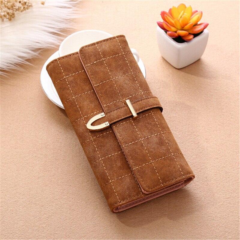 3ccd04d7d Nuevas billeteras de mujer largo con la tela escocesa de la PU de moda de  cuero Hasp monedero portátil tarjeta mujer cartera para las niñas señoras en  ...