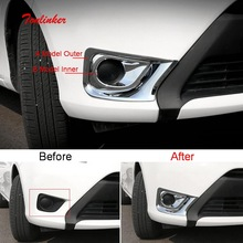 Tonlinker Exterior Front fog light Cover case stickers for Toyota Vios/Yaris 2014-16 Car Styling 2 PCS ABS Chrome