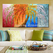 Oil painting On Canvas Wall Pictures Paintings For Living Room multi Panel Canvas Wall Art Palette Knife Hand Painted Tree 1