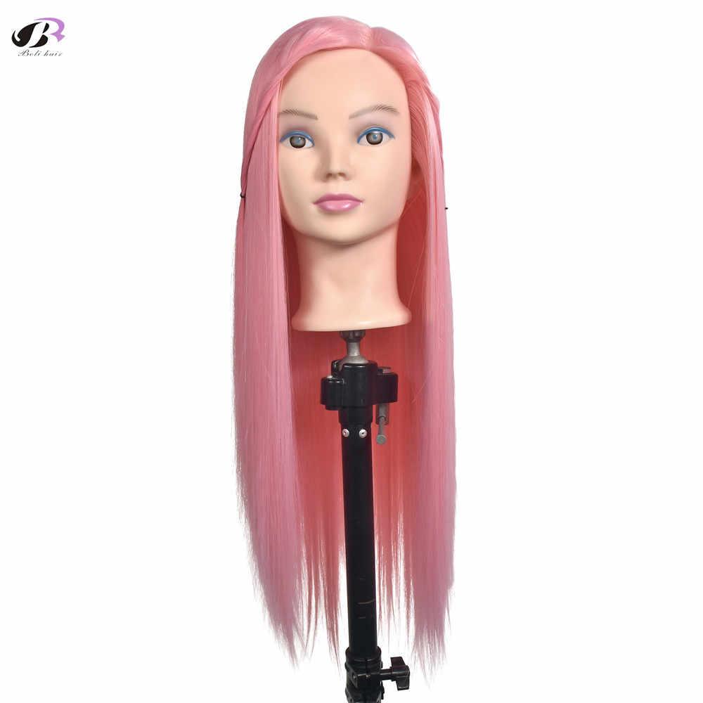 """28-29 """"70 см высокая температура волокна розовые волосы тренировочная голова для причесок длинные толстые волосы плетение манекен головы"""