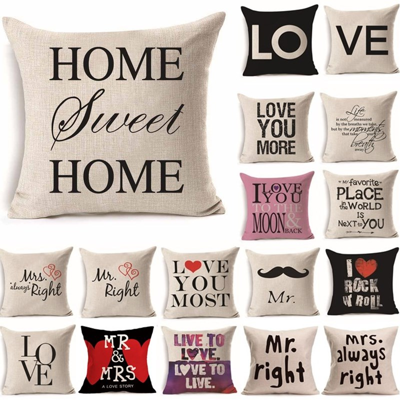 43*43cm Love Mr Mrs Cotton Linen Throw Pillow Cushion Cover Gift Home Decor Wedding Decoration Decorative Pillowcase 40247