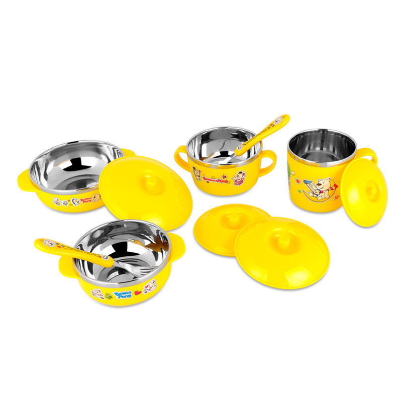 Cute Stainless Steel  Children Tableware Set Baby Bowl Food Container  Eating Set Lovely Learning Dishes  Spoon Fork Bowl Set (2)