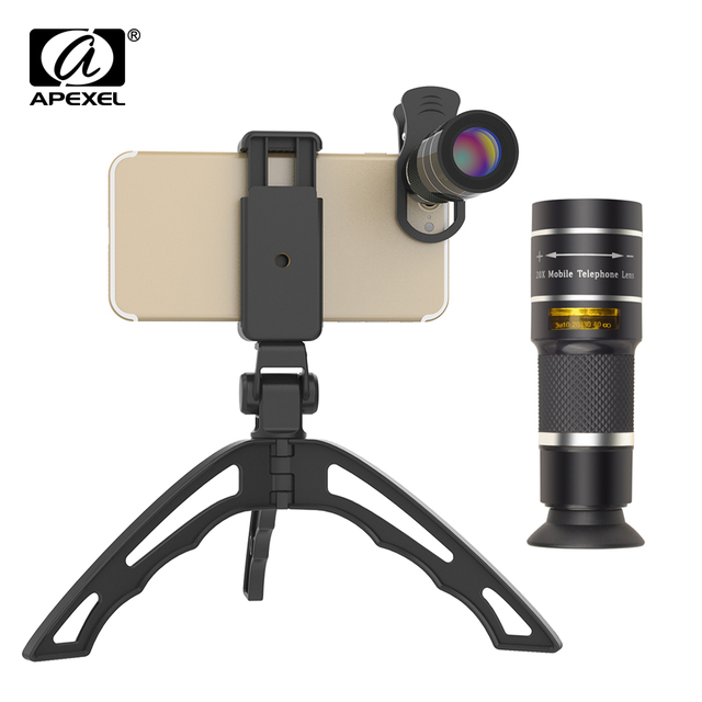 APEXEL Optical Telescope lens 20x telephoto monocular lentes with selfie tripod monopod for iPhone Samsung Smartphones Hunting