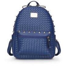 Модные женские туфли с заклепками рюкзаки для девочек-подростков из искусственной кожи Школьные сумки дамы молния дорожные сумки женские Водонепроницаемый сумки на плечо