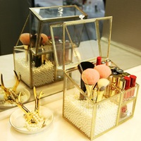 Brass Glass Makeup Brush Bucket Dressing Table Desktop Lipstick Lip Glaze Skin Care Eyebrow Pencil Holder Tube Storage Box Dustp