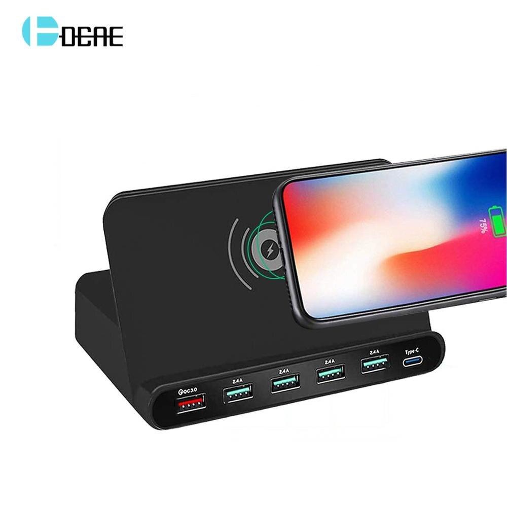 Cargador de teléfono USB 3,0 de carga rápida Qi estación de carga inalámbrica tipo C adaptador PD para iPhone XS XR X 8 Samsung Huawei