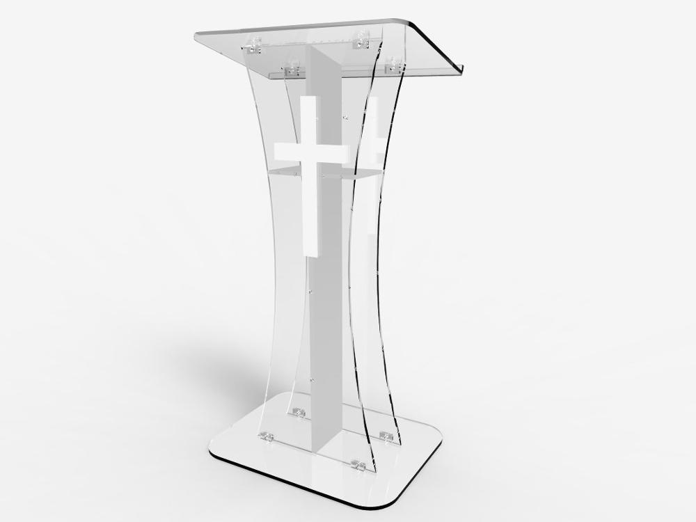 Fixture Displays Podium Crystal Clear Ghost Acrylic Lecrern   White Cross With Cross   Easy Assembly Required   Plexiglass