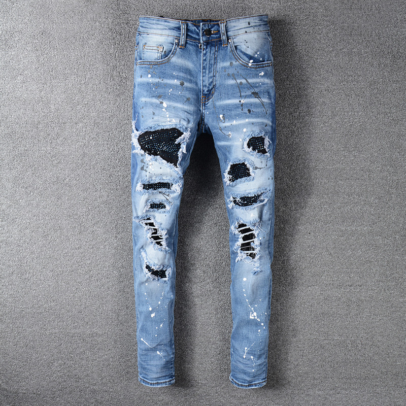 High Street Fashion Men Jeans Blue Color Slim Fit Destroyed Ripped Jeans Men Broken Pants Paint Designer Patchwork Hip Hop Jeans