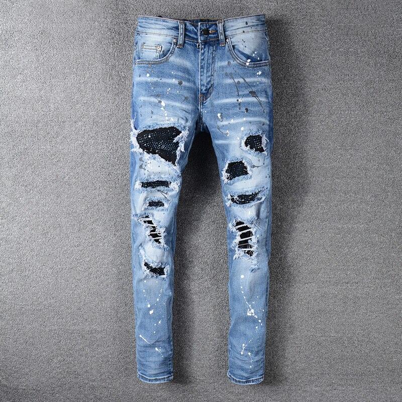 High Street Fashion Men Jeans Blue Color Slim Fit Destroyed Ripped Jeans Men Broken Pants Paint Designer Patchwork Hip Hop Jeans