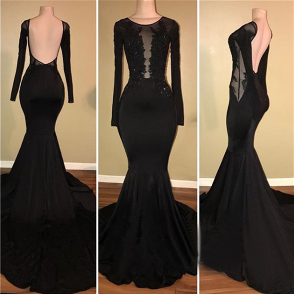 Long Sleeve Prom Dresses 2019: Backless Black Mermaid Long Sleeve Evening Dress 2019 New