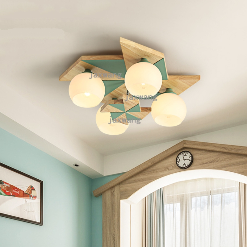Japanese style ceiling light Makaron bedroom children's room ceiling lamp lampara techo creativity modern solid wood Ceiling Lights     - title=