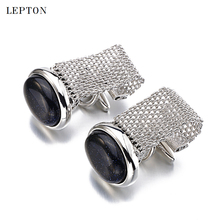 hot deal buy hot luxury red onyx cufflinks for mens high quality ellipse stone chain cuff links lepton brand men shirt cuffs cuff links
