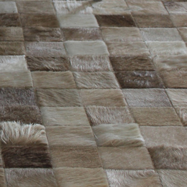 Patchwork Cowhide Rug Ideal For Neutral Tones Envioronments