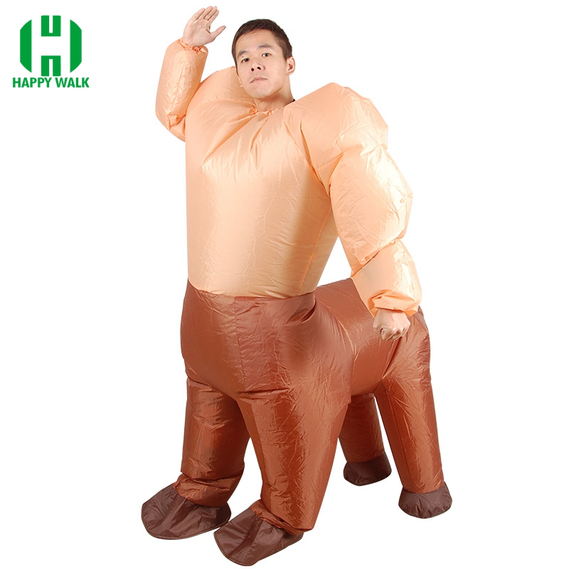 Adult Inflatable Centaurus Costume Human Face Horse Body Cosplay Fancy Party Dress Jumpsuit Halloween Costume for Men