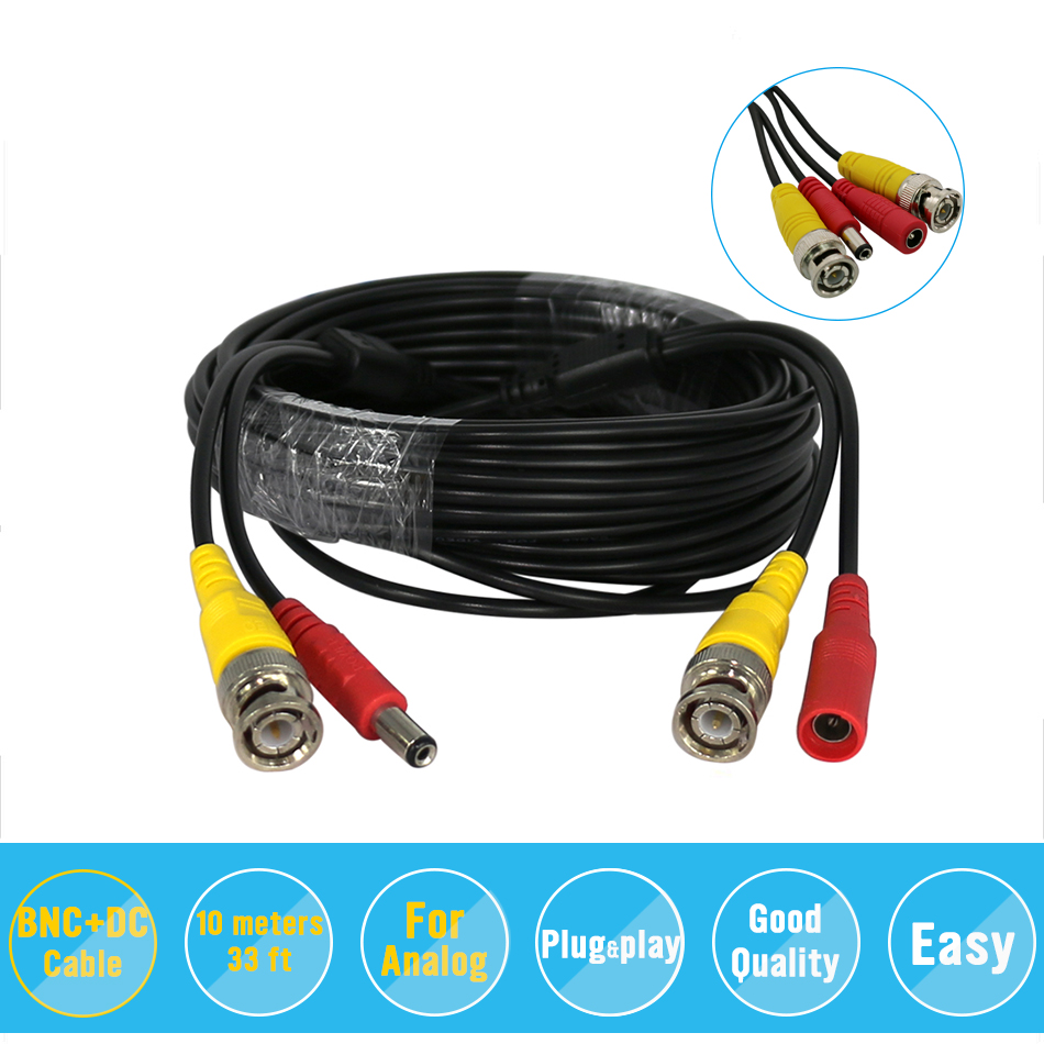 Hiseeu BNC Video Power Siamese Cable 32ft 10m for Analog AHD CVI CCTV Surveillance Camera DVR Kit cctv cable