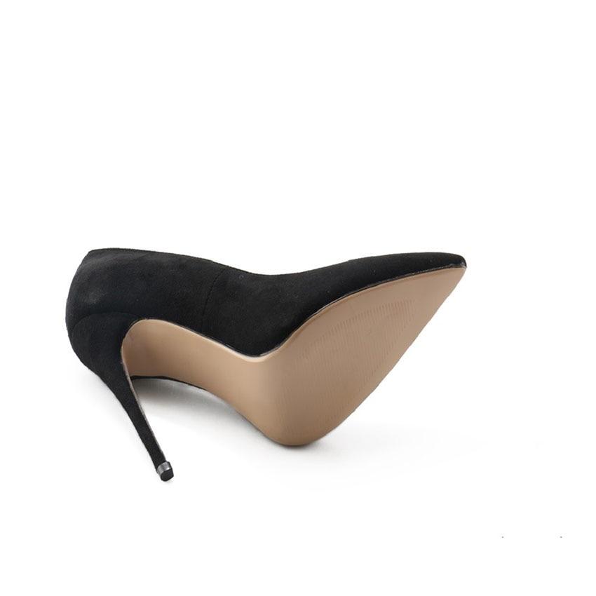Femme À As Pompes Talons Hauts Daim Aiguille Chaussures 12 Picture Stock The Cuir Cm Habillées as En Picture Talon Bout Pointu 10 Noir wFFqtgZvp