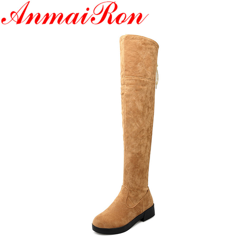 ANMAIRON Winter Long Boots Shoes Woman High Heels Lace Charms Size 34-43 Over-the-knee Boots Platform White Shoes sm size 34 43 2 style lace fall winter boots solid over the knee boots fashion 2016 thick platform high heels winter shoes woman