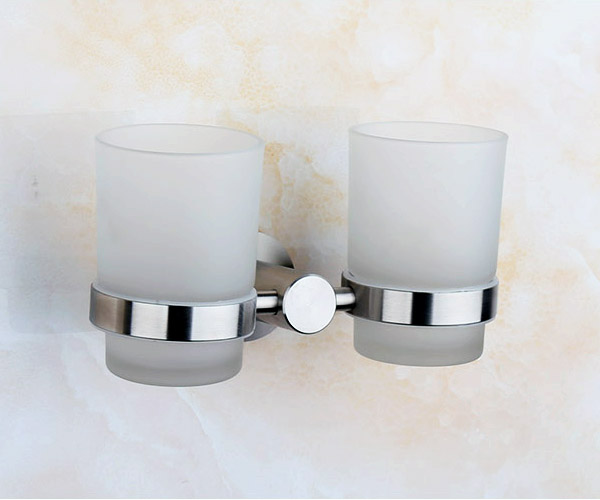 304 Stainless Steel Nickel Finish Double Tumbler Holder Toothbrush Cup With Gl Bathroom