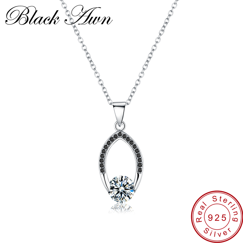 [BLACK AWN] Genuine 100% 925 Sterling Silver Jewelry Necklace for Women Female Bijoux Necklaces Pendants P086