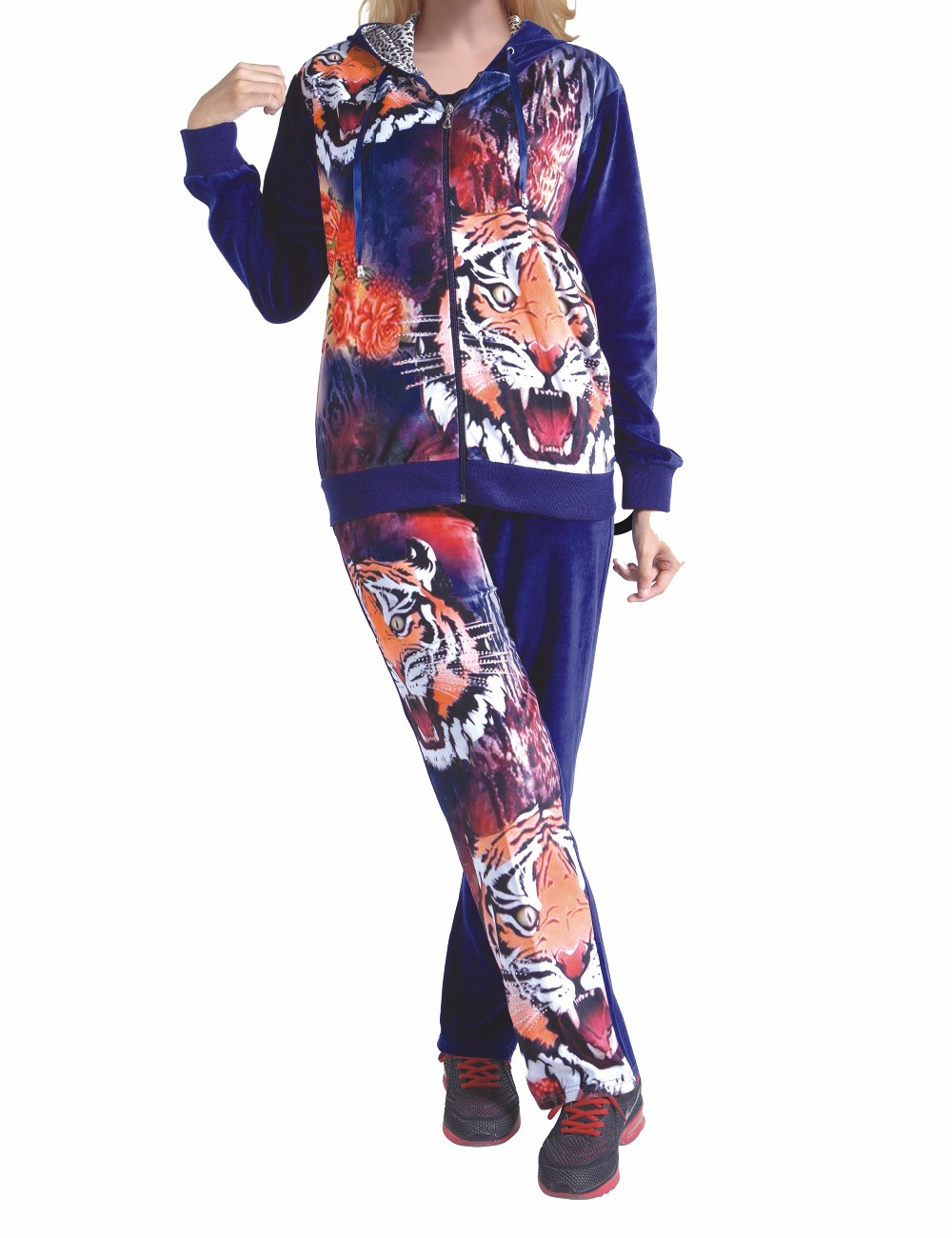 US $32.99 |Fashion Women Clothing Velour Velvet CVC Pajamas set plus size  Lounge wear 3pcs HN 0125-in Women\'s Sets from Women\'s Clothing on ...