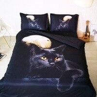 Goldeny Brand 3 Parts Per Set Beautiful Black Cat under Full moon 3d bed set