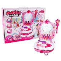 15Pcs Children Pretend Play Dressing Table Toy Girl Smart Conversation Dresser Playset Cosmetics Makeup Toys For Girl Set Gift