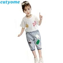 1fc40ba773801 المراهقات القطن خطابات تي شيرت أعلى + خليط شورت جينز الأطفال الصيف اثنين من  قطعة الملابس